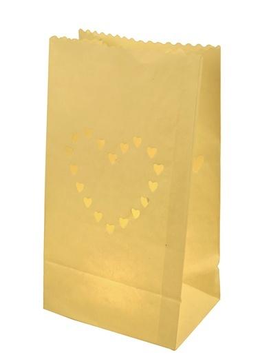 Kalp Motifli 10'lu Kağıt Fener-Dekorazon